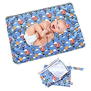 "Flockthree Waterproof Baby Changing Pad with Storage Bag (28.7"" X 19.7"") Washable Wipeable Reusable Leak Proof Diaper Travel Mat Station Changing Mattress Liner Cribs Bed Cover, Flying Animals"