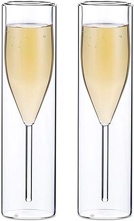 Sziqiqi Verres à Flûte à Champagne en Cristal à Double Paroi, Classics Tulip Goblet, Tasses en Verre Transparent, Verres Soufflés à la Bouche pour