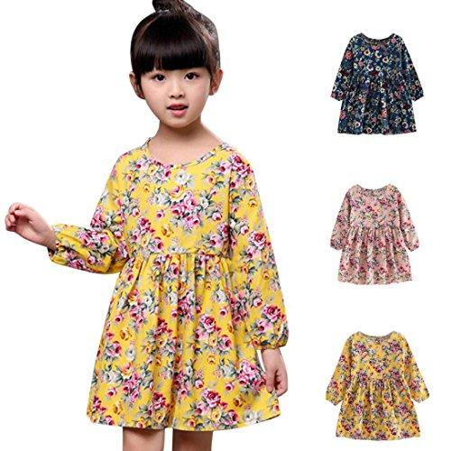 11ans Longues Enfants Bébé 3 Fille Amlaiworld Robe Robes Concours Princesse Fête Manches De Pour Filles Vêtements Rose ❤️robe qWFZA