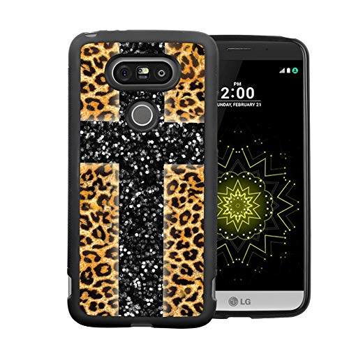 LG G5 Case With Leopard Cross Pattern Whimsical Design Bumper Black Soft TPU and PC Protection Anti-Slippery &Fingerprint Case For LG G5