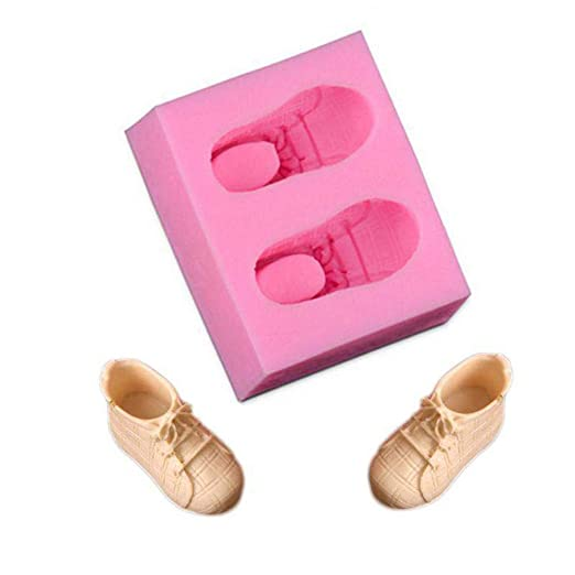 Ogquaton Zapatos de bebé premium Molde de silicona Fondant Sugarcraft Baby Shower Cake Decorating Mould