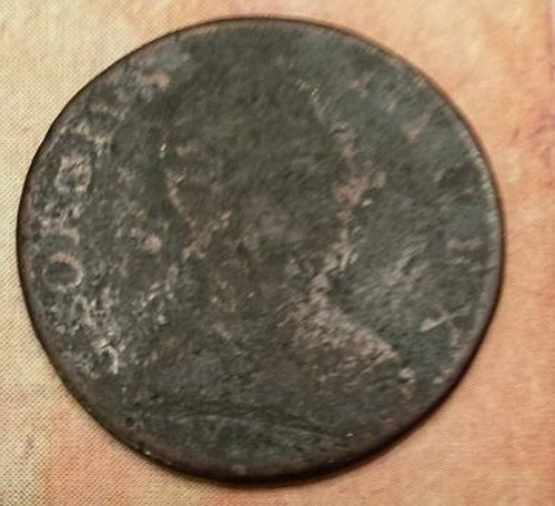 1776 1775 COLONIAL /REVOLUTIONARY WAR ERA COIN CURRENCY - REAL COIN USED IN 1775! George III Colonial Half Penny (British)