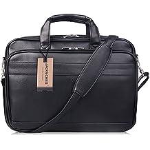 Jack&Chris Men's PU Leather Briefcase Messenger Bag Laptop Bag, MBYX014