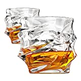 8T8 Old Fashioned Twist Whiskey Glasses, Crystal Glassware Tumblers for Scotch Bourbon Spirits, Ultra Clarity Set Of 2 (Style6, 330ml)