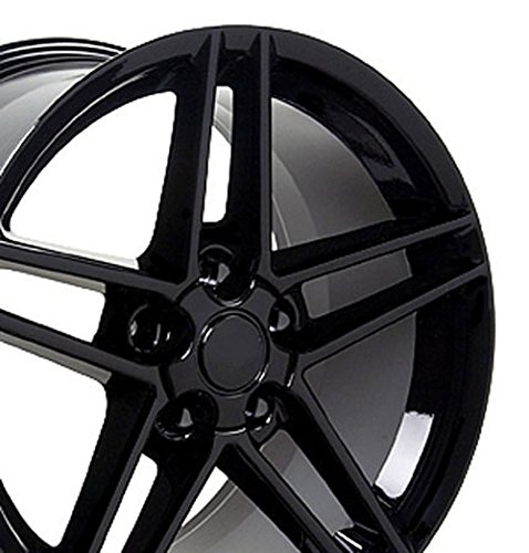 Chevrolet Camaro Rear Wheel (18x10.5 Wheel Fits Chevrolet - Corvette C6 Z06 Style Black Rim- REAR ONLY)