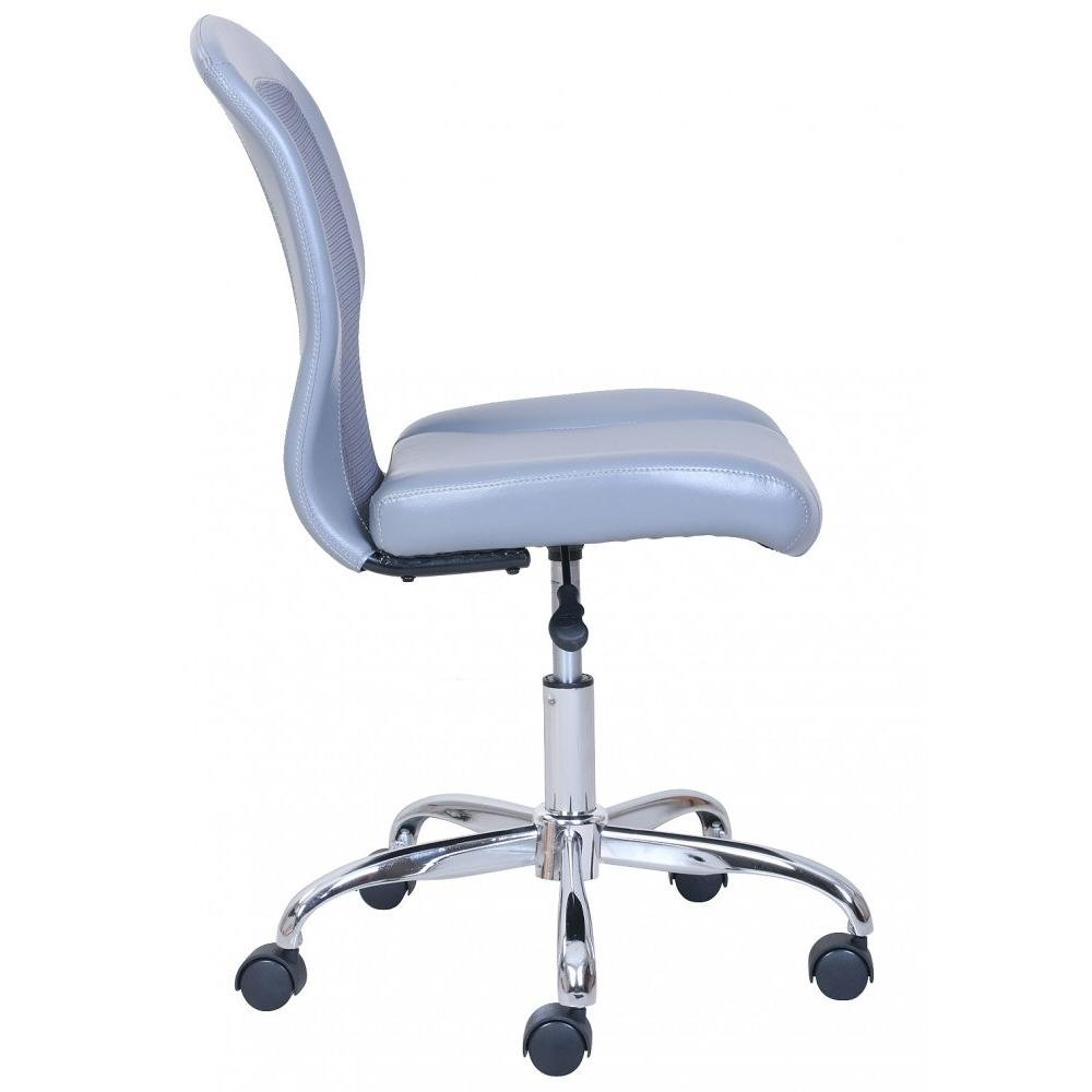 Comfortable Vinyl and Mesh Task Chair with Durable Metal Base, One-Touch Pneumatic Height Adjustment, Padded Seat and Back for Comfort, Grey + Expert Home Guide by Love US