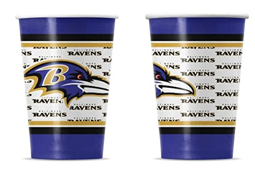 Duck House 20 Pcs, Baltimore Ravens Disposable Paper Cups With Team's Logos & Colors For Picnic Or Tailgate Party