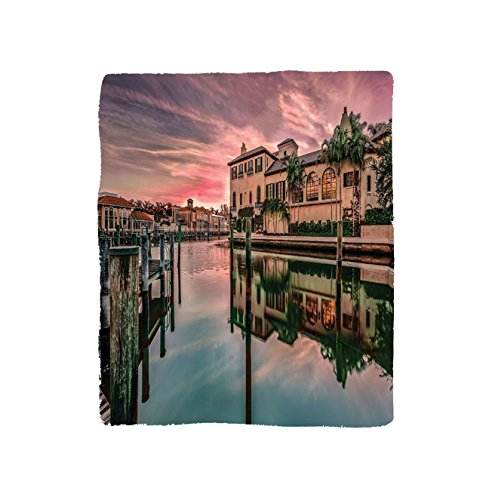 VROSELV Custom Blanket Colorful Sunrise Over Venetian Bay At Naples Florida Apartments Trees Waterscape Soft Fleece Throw Blanket Purple Green (Naples Florida Gift Baskets)