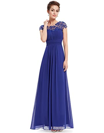 d6b4f21487 Ever-Pretty Womens Cap Sleeve Lace Neckline Ruched Bust Evening Gown 09993