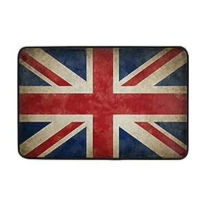 LORVIES Great Britain Old Grunge Flag Doormat, Entry Way Indoor Outdoor Door Rug with Non Slip Backing, (23.6 by 15.7-Inch)