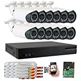 GW 5-In-1 1080P 16 Channel DVR 2MP 4X Optical Zoom Security Camera System with (12) x True HD 1080P Waterproof Auto-Focus 4X Motorized Zoom Bullet Camera, 130ft Night Vision For Sale