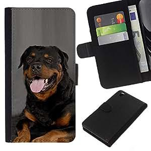 eJoy---La carpeta del tirón la caja de cuero de alta calidad de la PU Caso protector - HTC DESIRE 816 - --Rottweiler Portrait Panting Tongue Pink Dog