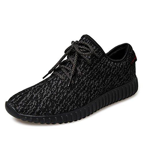 SITAILE Herren Damen Bequeme Freizeit Schnürer Sneaker Laufschuhe Profilsohle Sportschuhe Turnschuhe, color: Pure black GR: 42