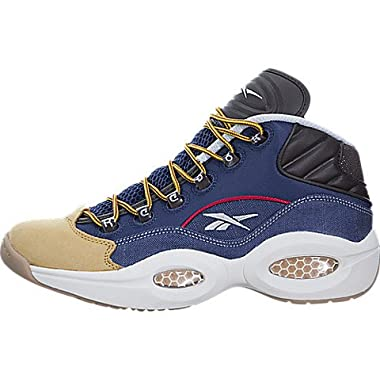 2b9b8a196f9094 Reebok Men s Question Mid Dress Code Blue White Yellow AR0252 (Size  9.5