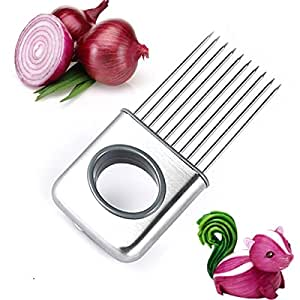 Raytyestore Multi-Purpose Onion Holder Kitchen Aid Gadget Cutting Slicing Fixer Hands-free Stainless Steel