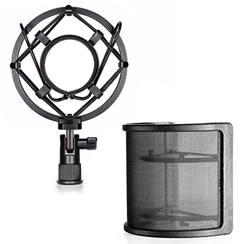 Diameter Pop (Neewer Microphone Shock Mount with Mask Shield Mic Windscreen Pop Filter, Anti-Vibration Suspension Shock Mount Holder Clip for Diameter 46MM-53MM Microphone)