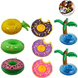 8 Pack Inflatable Swimming Pool Drinker Boats Holders Coconut Tree Donut Friut Drink Float Pool Floating Coasters for Children Kids Bath Pool Toys Party