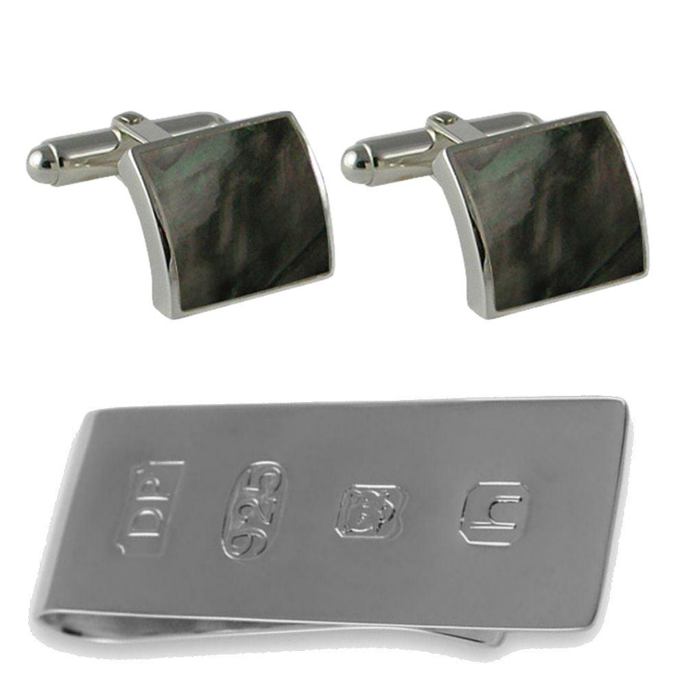 スターリングシルバーブラックシェルジェームズボンドのお金クリップボックスセットカフスボタン B074S5GDD8