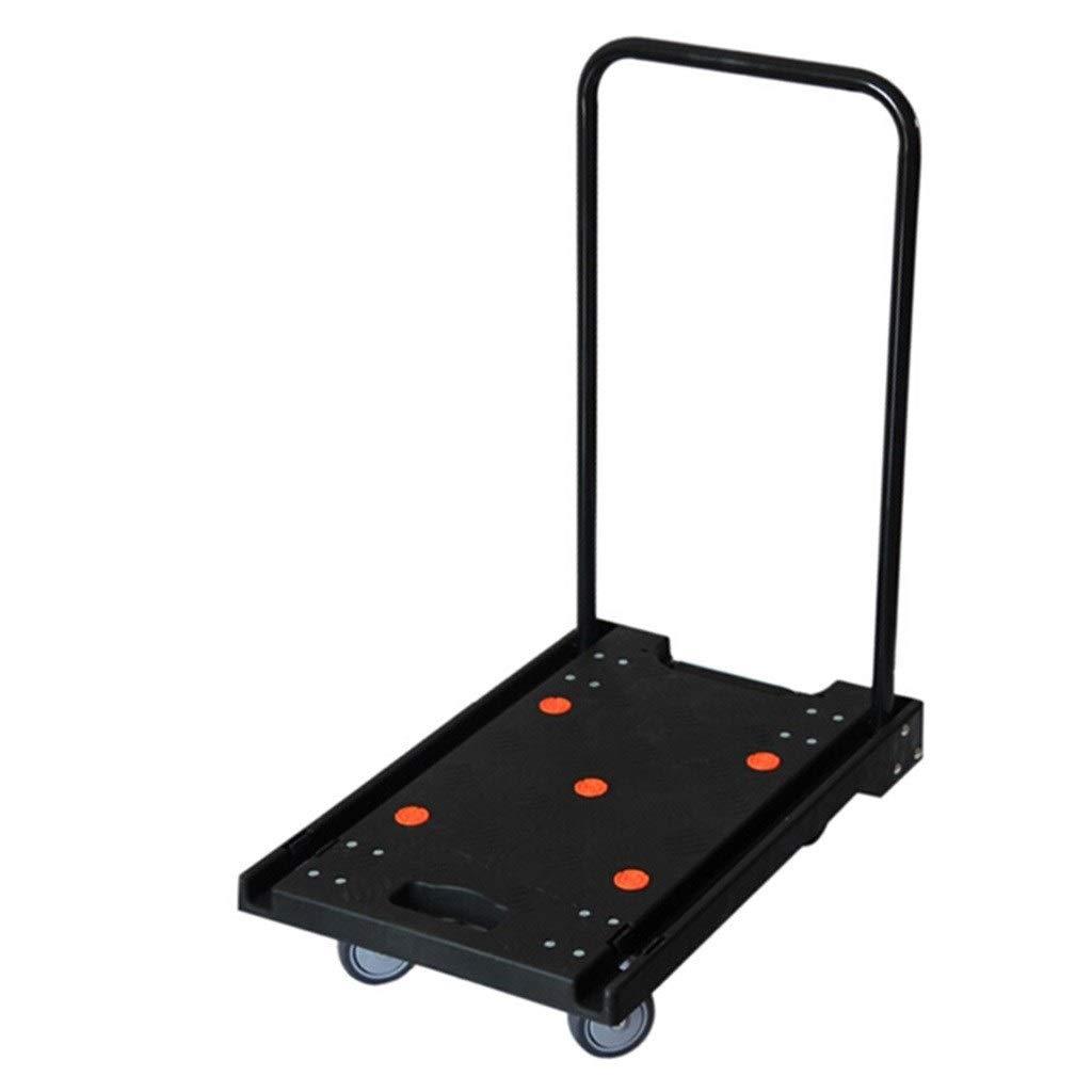 トロリー - 耐摩耗性PU四輪トロリー黒ミュートフラットベッド折りたたみフラットベッドトロリーサイレント折りたたみトロリー - ロード120キログラム - 60 * 38 * 74 cm (Color : Black) B07SQR2HB9 Black