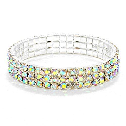 (Sparkling Three Line AB Rhinestone Crystal Silver Stretch Bracelet Affordable Wedding Jewelry)