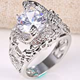 1.7ct Women Fashion Jewelry White Topaz 925 Silver Wedding Ring Men Size 6-10#by pimchanok shop (10)