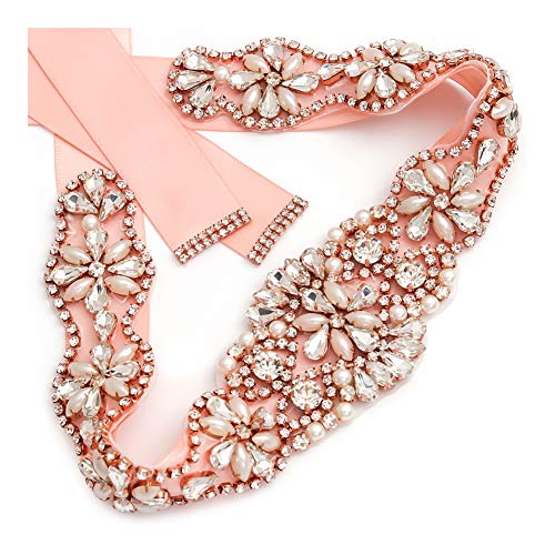 Yanstar Handmade Rose Gold Crystal Bridal Belts Blush Sashes Wedding Belt With Rhinestone For Wedding Bridesmaid Dress (Rose-Blush)]()