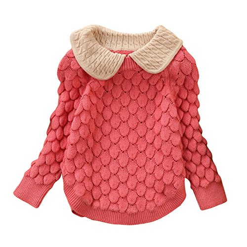 Toddler Baby Girl Cable Knit Sweater Lovely Kid Pullover Sweatshirt pink 14