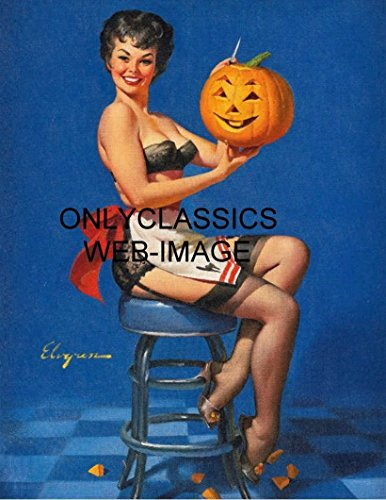 OnlyClassics 1962 GIL ELVGREN Sexy Pinup Cheesecake Halloween Pumpkin Jack-O-Lantern Print