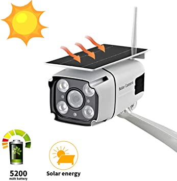 c/ámara Solar Impermeable IP65 1080p WiFi l/ámpara LED C/ámara de Seguridad Solar Inteligente para Exteriores Patio inal/ámbrico al Aire Libre
