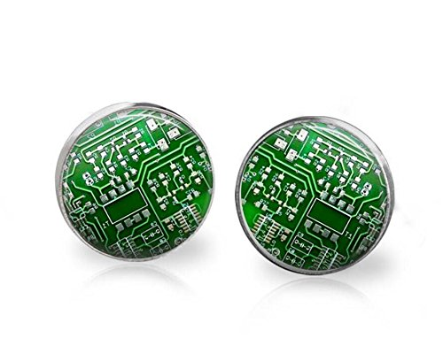 Repurposed Costume Jewelry (Circuit Board Earrings Computer Science Geek Jewelry Hypoallergenic Surgical Steel Studs)