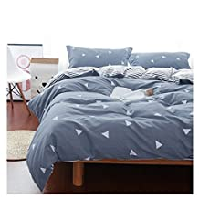Uozzi Bedding 3 Piece Duvet Cover Set Queen, Reversible Printing with Brushed Microfiber White Triangle with Gray&Blue Pattern,Thin & Breathable Material for Summer(Gray&Blue, Queen)