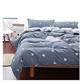 Uozzi Bedding 3 Piece Triangle Duvet Cover Set Queen, Reversible Printing with Brushed Microfiber, Soft, Thin, Breathable Material for Summer, Simple Kids Comforter Cover (Gray-blue, Queen)