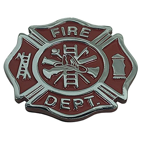 (Firefighter Maltese Cross Shaped METAL Auto Emblem (Red & Chrome))