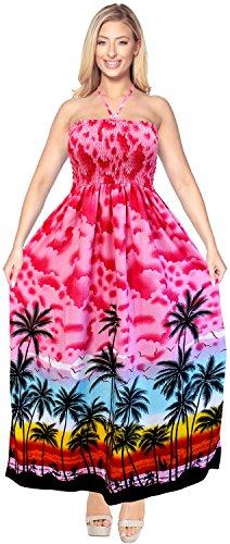 LA LEELA Soft  Printed Cover Up Womens Swim Tube Dress  Pink 329 One -