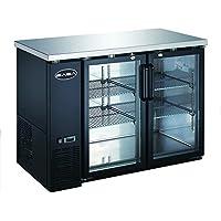 Heavy Duty Commercial Two Glass Door Back Bar Refrigerator (24 Depth 48 Width)