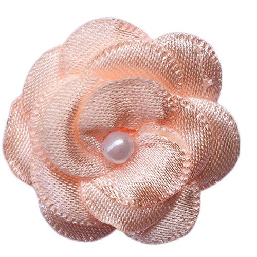 Ribbon Peach (Chenkou Craft 40pcs Satin Ribbon Flower with Pearl Wedding DIY Appliques (Peach))