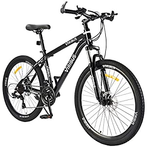 Men's Mountain Bike Hardtail with 26 Inch Wheels, Lightweight Aluminum Frame MTB Bicycle with Dual Disc Brakes, Adult Bike for Men with 100mm Travel Front Suspension Fork