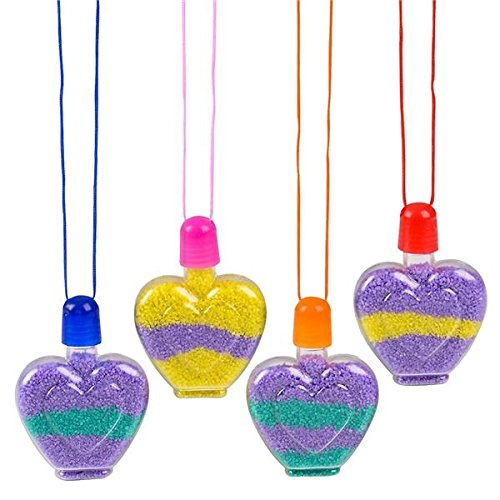 Kicko Heart Sand Art Necklace - 24 Pack - Cool and Fun Stylish Assorted Heart-Shaped Bottle Necklace for Kids and Adults - Novelty and Gag Toys, Party Favor, Bag Stuffer, Valentine's