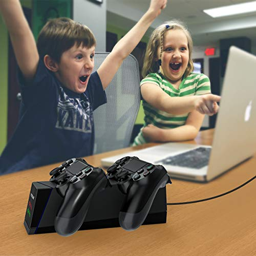 Controller Charger Compatible with PS4, YCCTEAM Dual Fast Controller Charging Station Compatible with Sony PS4,PS4 Slim,PS4 Pro with 4 Micro USB Connectors & LED Charging Indicator