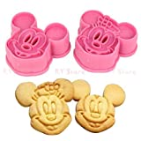 1 Set Cute Mickey Mouse Design Baking Cookie Fondant Cake SugarCraft Biscuit Chocolate Clays DIY Modelling Paste Decorating Plunger Cutter Stamp Pull Press Mold Tools Tool