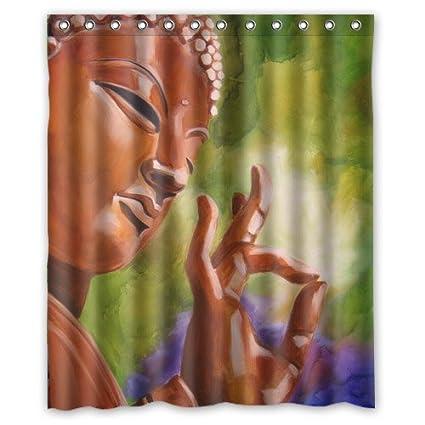 Beautiful Buddha Shower Curtain 60wx72hInch Waterproof