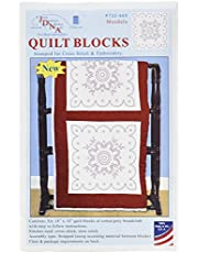"Jack Dempsey 732-660 Stamped Quilt Blocks (6 Pack), 18"" x 18"", Mandala, White"