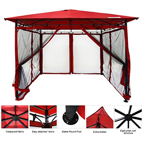 Quictent 10' x 10' Metal Gazebo with Netting Patio Gazebo Canopy Backyard Shelter Waterproof (Red) by Quictent