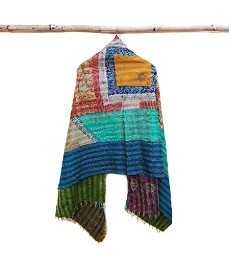 Silk Kantha Scarf Neck Wrap Stole Dupatta Hand Quilted Women Scarves Reversible