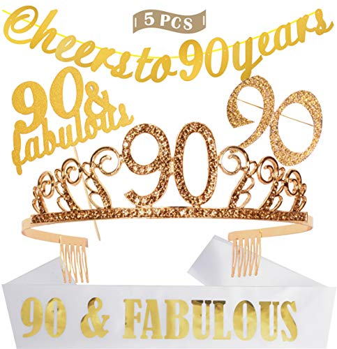 90th Birthday Decorations Party Supplies | Gold 90th Birthday Tiara | 90th White Satin Sash 90 & Fabulous | Gold Glittery Cheers to 90 Years Banner | 90 and Fabulous Cake Topper | 90 Golden Rhinestone Brooch | for 90th Birthday Party Supplies and Decorations]()