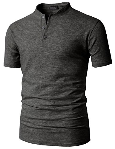 H2H Mens Tshirt Baseball Cotton Jersey Charcoal US S/Asia M (KMTTS0563)