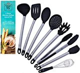 Kitchen Eight Five Set of 8 Kitchen Utensils- Nonstick, Heat Resistant Stainless Steel & Silicone Cooking Spatulas- Includes Tongs, Serving Spoon, Pasta Server, Ladle, Whisk, 2 Spatulas, Strainer