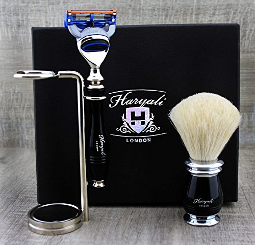 Elegant 3 Pcs Men's Shaving Set ft Pure White Badger Brush, Gillette Fusion Compatible Razor & Dual Chrome Plated Stand by Haryali London