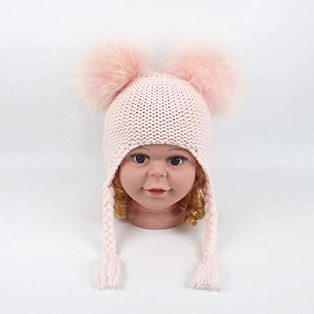 9787cb30 Kids Toddlers Warm Beanie Hat with Ear Flap Girls Boys Winter Knitted  Fleece Hats Cute Thick