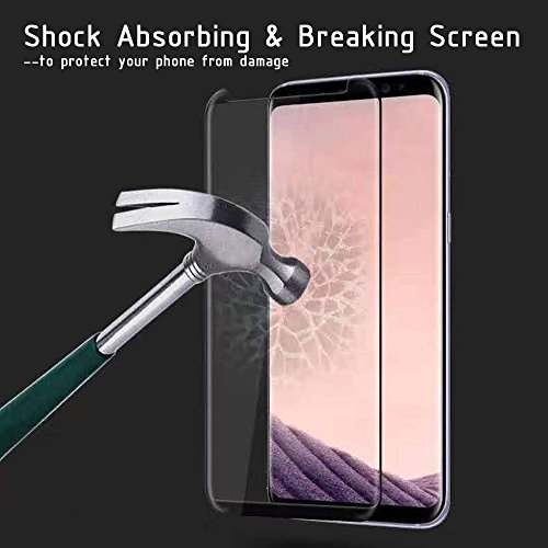 Galaxy S8 Screen Protector [Full Glue] [3D Curved Edge] [Anti-Scratch] [Auti-fingerprint] [High Definition] [9H Hardness] Tempered Glass Screen Protector for Samsung Galaxy S8- Black by ClarksZone (Image #5)